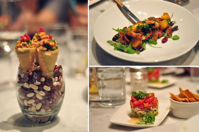 Ceviche Cones, Octopus Salad, Dungeness crab tartar