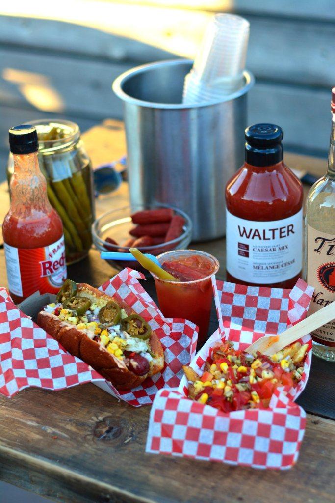 Beretta Farms Beef Hot Dog wuth Walter Caesar Cocktail