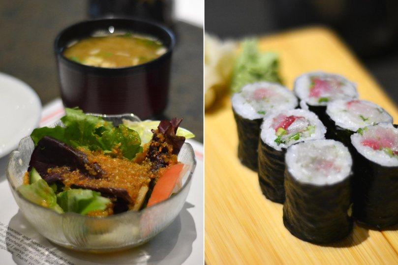 Green Salad, Miso Soup, Hamachi Maki Roll