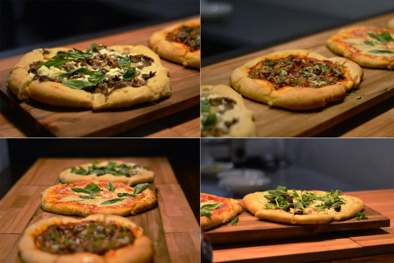 Knead Pizzas: Mushroom, Smoked Brisket, Margerhita, Roasted Grape