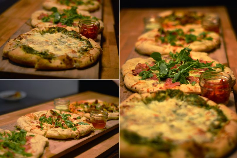 Knead Pizzas: Sweet Cheezus, Proscuitto, The Porta, Mango Tango