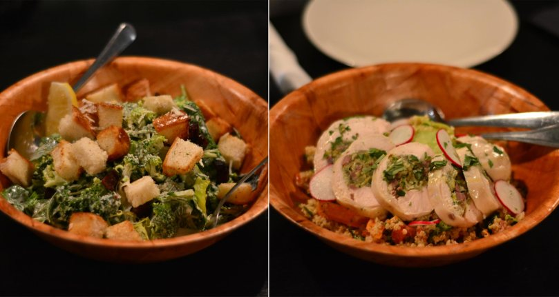 Broccoli Caesar Salad $9 | Chicken Breast with Prosciutto with Quinoa Salad $18