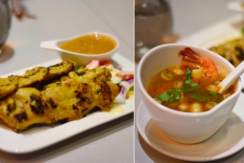 Chicken Satay and Tom Yum Gong