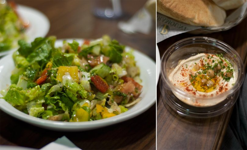 Fattoush Salad and Hummus