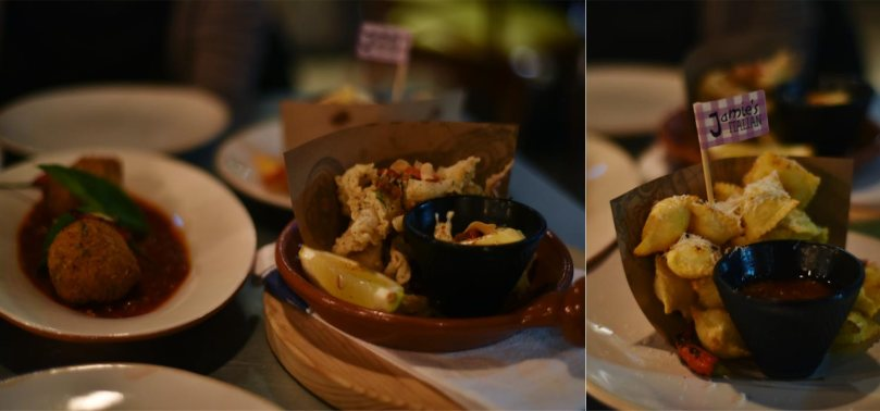 Crispy Squid $10.95 | Arancini Margherita $8.50 | Ravioli Fritti $6.95