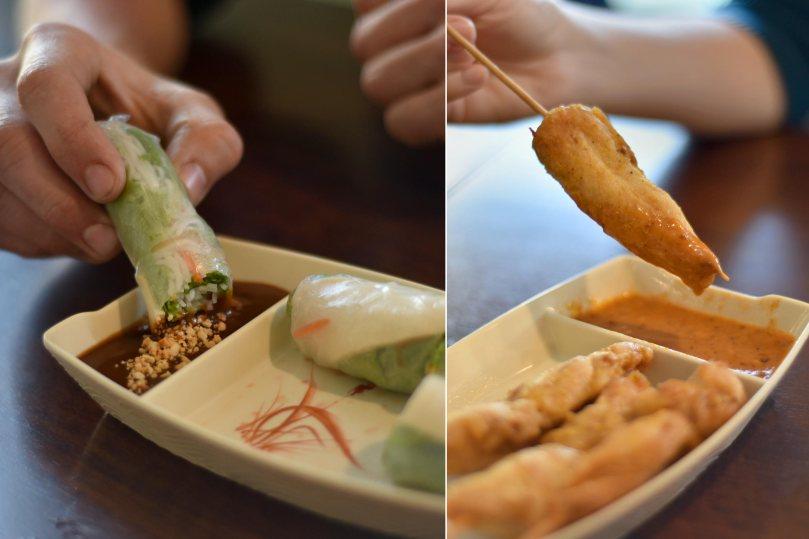 Spring Rolls $4.49, Chicken Satay $6.49