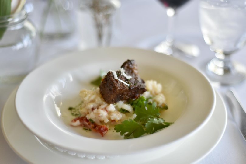 Braised Beef Short Rib with Sundried Tomato and Arugula Risotto